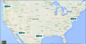 Program logo pins on USA map